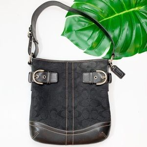 COACH Shoulder Bag Purse Square Black Signature